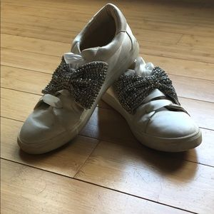 Betsey Johnson satin sneakers with crystal bow